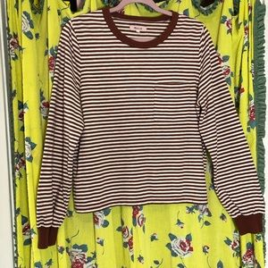 Madewell  Brown Striped Cotton Tee Large